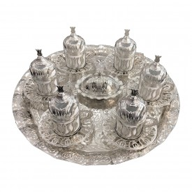 Tulip Patterned Silver Round 6-Piece Coffee Cup Set