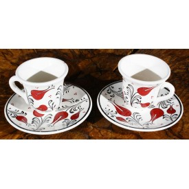 Set of 2 Coffee Cups with Tulip Pattern