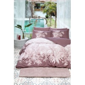 Ozdilek Botanical Double Fitted Sheet and Duvet Cover Set Plum