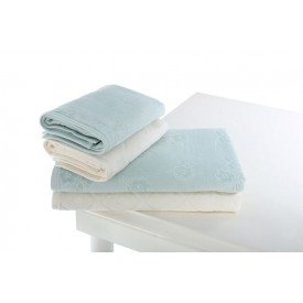 OZDILEK Mayra Velvet Towel Set Cream - Mint