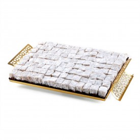 HACI SERIF Turkish Delight with Peanuts in Mirrored Tray