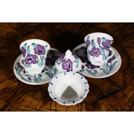 Poppy Flower Patterned Ceramic Coffee Set