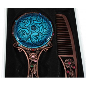 Turquoise Floor Haliç Patterned Scalloped Mirror Set